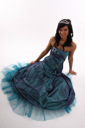 Modell 2057 Abendkleid lang, schulterfrei, olive Größe 40
