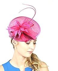 NYfashion101 Elegant Feather Floral Accent Sinamay Fascinator Headband