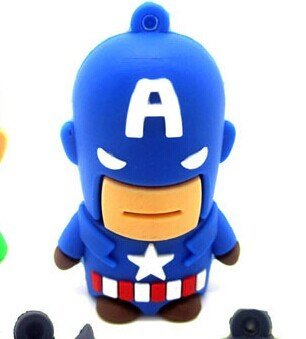Newdigi New Hot Sale Stock Usb 2.0 Robot Usb flash drive 8g/16g cartoon usb flash drive personalized gift +Gift Box (8GB, America Captain)