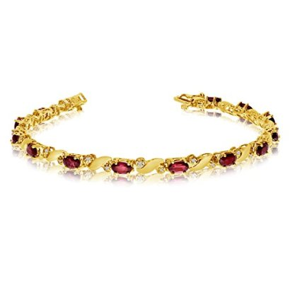 14k-Yellow-Gold-Natural-Garnet-And-Diamond-Tennis-Bracelet