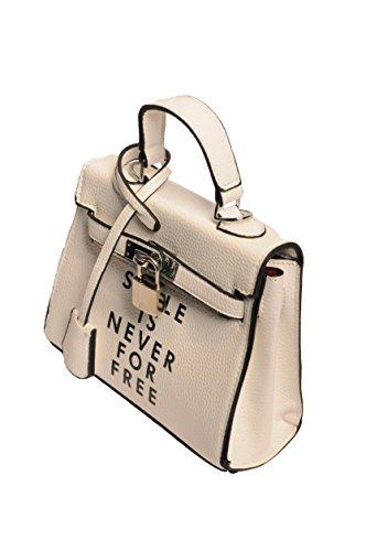 ケリー風 ロゴ入り バッグ 人気 かわいい レディース ショルダー ハンドバッグ インバッグ 手提げバッグにもなる 小さめなバッグ (ホワイト)【ディスティルストア】