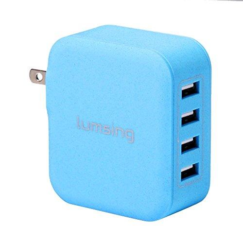 Lumsing USB急速充電器 35W 4ポート ACチャージャー 折りたたみ式 【 各種 スマホ / タブレット / wi-fiルーター 等対応】 持ち運び安い ブルー