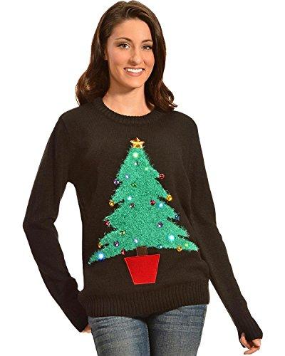 Lisa International Women's Colorful Christmas Tree Light Up Sweater – 6313