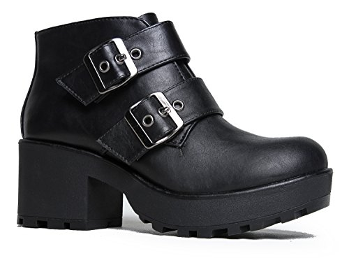 Platform Ankle Boot - Edgy Low Chunky Biker Bootie - Trendy Buckle Strap Lug Sole - Round Closed Toe - Grunge Elevated Heel Casual Boot, Black Pu, 9 B(M) US