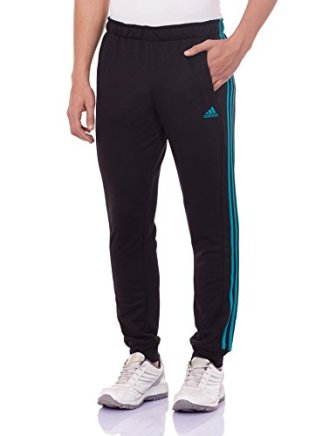 adidas Men's Polyester Track Pants (4056561562606_AP2889_L_Black and Green)