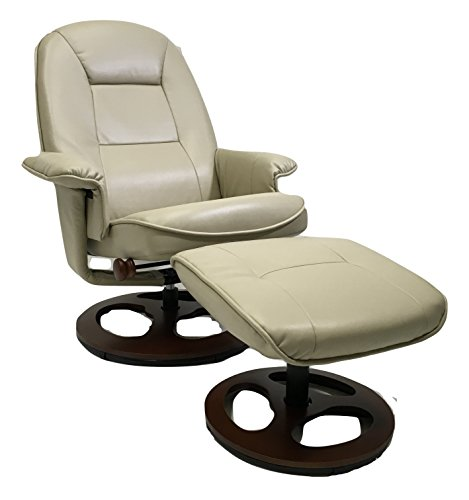 Montrose Stucco (Taupe) Vegan Leather Swivel Reclining Chair and Ottoman