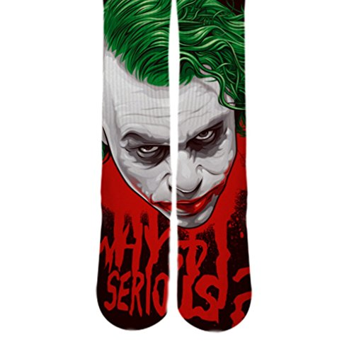 Dopesox Mens Why So Serious Joker Face Custom Elite Socks One Size (6-12) White