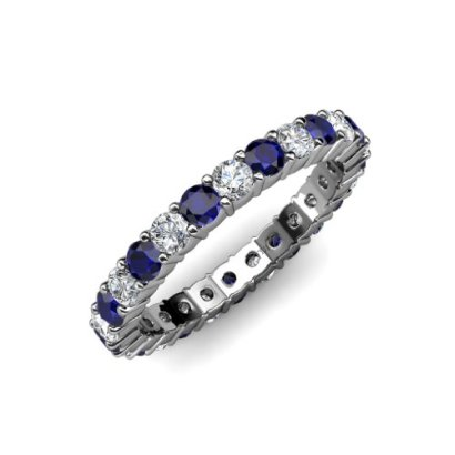 Blue-Sapphire-and-Diamond-Common-Prong-Eternity-Band-205-ct-tw-to-246-ct-tw-in-18K-White-Goldsize-65