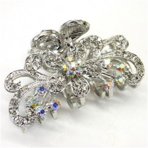white crystal bronze metal alloy flower butterfly hair claws clips beauty