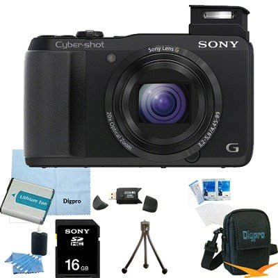 Sony Cyber-shot DSC-HX30V DSCHX30 DSC-HX30/V 18.2 MP Exmor R CMOS Digital Camera with 20x Optical Zoom and 3.0-inch LCD (Black) BUNDLE with Sony 16GB Card, Spare Battery, Card Reader, Case, Mini Tripod, LCD Screen Protectors, Lens Cleaner, Cleaning Cloth