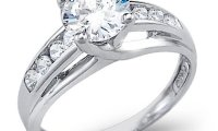 14k White Gold Solitaire Cubic Zirconia Engagement Wedding Ring