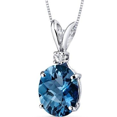 14-Karat-White-Gold-Oval-Shape-300-Carats-London-Blue-Topaz-Diamond-Pendant