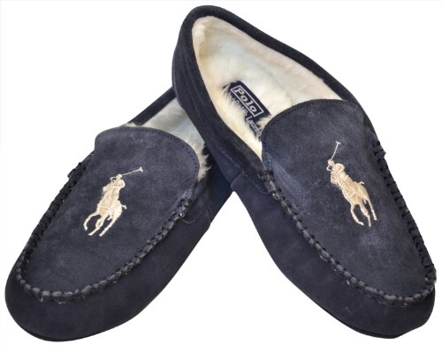Buy Low Price Polo Ralph Lauren Men S Sherpa Lined Slippers Navy White B009svolfw Shop Slipper