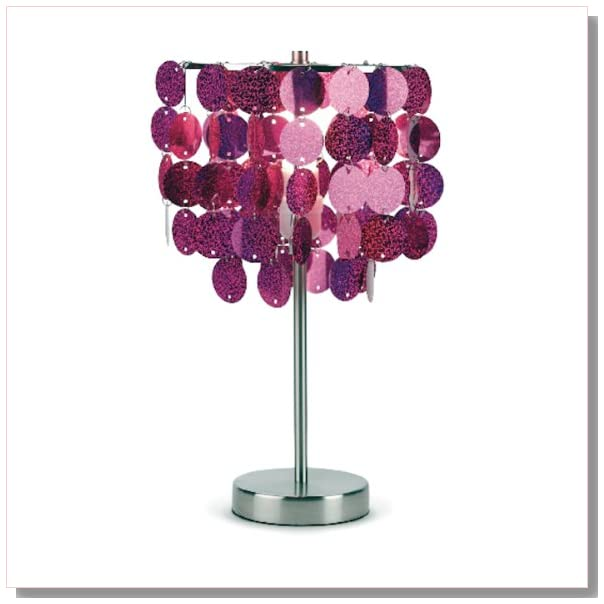 Three Cheers Fuschia Paillette Table Lamp