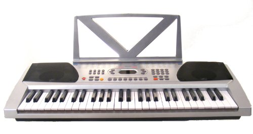 54 Keys Keyboard Student Electronic Digital Piano - With notes Holder - Silver - with AC Adapter & DirectlyCheap(TM) Translucent Blue Medium Pick