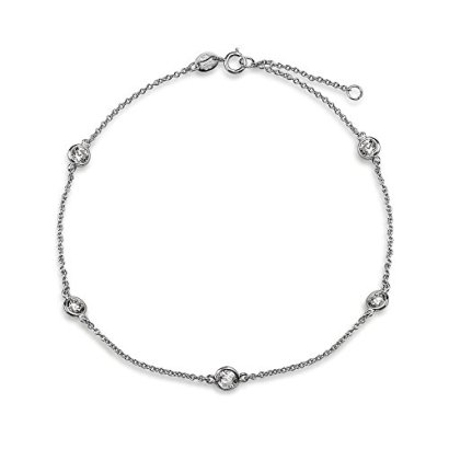 Bling-Jewelry-CZ-by-the-Inch-Sterling-Silver-Cubic-Zirconia-Anklet-9-Inch