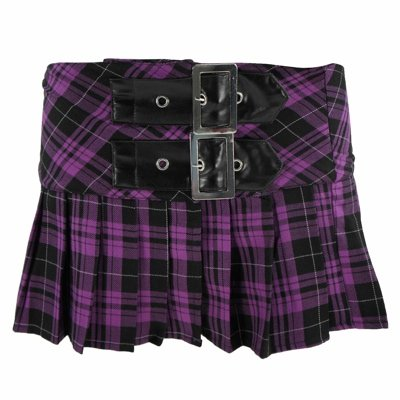 Hell Bunny Minirock CHELSY MINI black/purple tartan