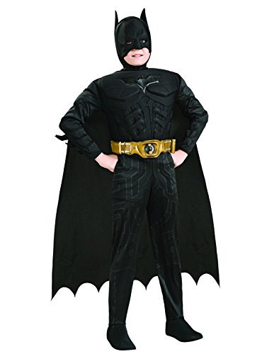Batman Dark Knight Rises Child's Deluxe Muscle Chest Batman Costume with Mask/Headpiece and Cape - Small
