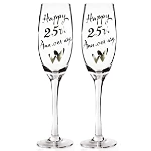 Happy 25th Silver Anniversary Pair of Champagne Glasses
