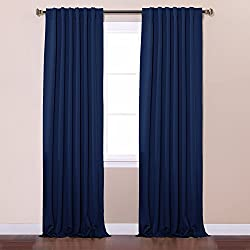 """Best Home Fashion Thermal Insulated Blackout Curtains - Back Tab/ Rod Pocket - Navy - 52""""W x 84""""L - No tie backs (Set of 2 Panels)"""