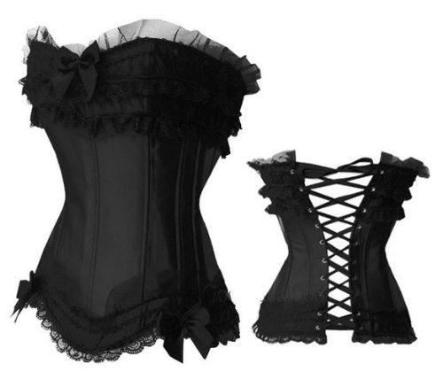 Sexy Corsage Korsett Gothic Satin Dessous Reizwäsche Erotik schwarz