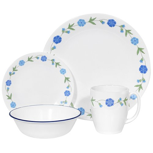 Corelle Livingware 16-Piece Dinnerware Set, Service for 4, Spring Blue