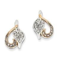 14k White Gold & Rhodium Diamond Heart Post Earrings