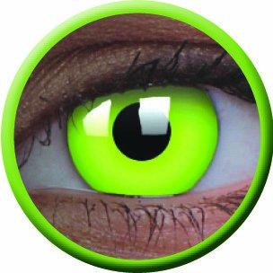 Fasching Kontaktlinsen Farbige Crazy fun Kontaktlinsen Disco UV Kontaktlinsen Grün / Green! 3-Monatslinsen Leuchten im Schwarzlicht! 1 Paar mit 60ml Kombilösung und Kontaktlinsenbehälter!