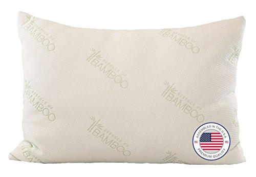 Bamboo Pillow - Most Comfortable Alternative Down Hypoallergenic Pillow with Stay Cool Bamboo Cover Best Pillow Ever for Stomach, Back, and Side Sleepers - 100%