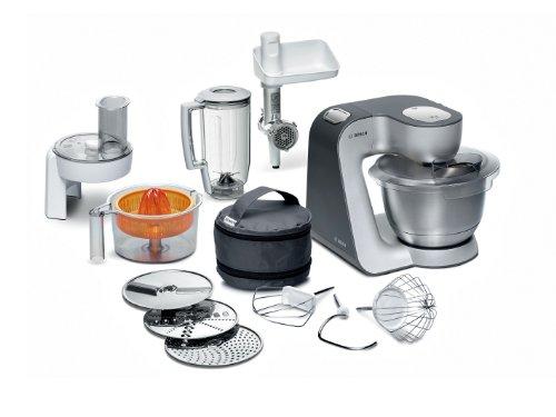 Bosch MUM56340 Küchenmaschine Styline / 900 Watt / Edelstahl-Rührschüssel / Durchlaufschnitzler / Mixeraufsatz Kunststoff / Knethaken Metall / Fleischwolf / Zitruspresse / Rühr-/Schlagbesen