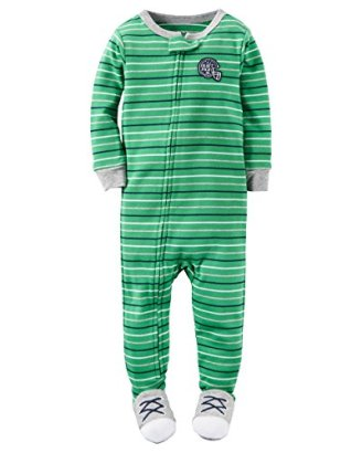 Carters-Baby-Boys-Snug-Fit-Cotton-Footie-Pajamas-2T-Green-Stripe-Football