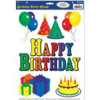 Birthday Party Clings Party Accessory (1 count) (6/Sh ...