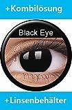 Farbige Kontaktlinsen Crazy Lenses Kostüm Karneval BLACK EYE / SCHWARZ inkl. 60 ml Pflegemittel und Behälter