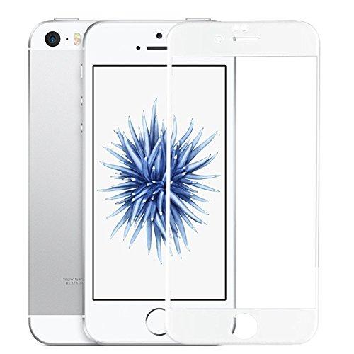 SUPTMAX iPhone SE 対応 iPhone SE 液晶保護フィルム iPhone 5Sフィルム 0.26mm 2.5D 9H 強化ガラス 耐衝撃 自動吸着99%高透過率 気泡ゼロ iPhone SE 5S 5C 5 ガラスフィルム 全面  ホワイト
