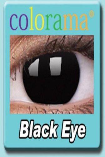 Farbige Kontaktlinsen Crazy Motivlinsen Kostüm Karneval BLACK EYE / SCHWARZ