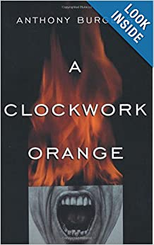 A cover of A Clockwork Orange by Anthony Burgess. This cover has an image of a man's mouth in black and white and close up. The mouth is yelling. Directly above the mouth, like it is the rest of his face, is a large flame. Superimposed on this image is the title of the novel. The background is black.