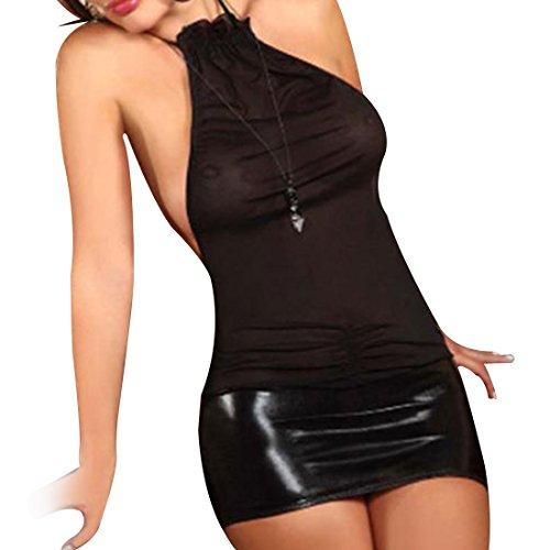 Tiaobug Damen Lingerie Dessous Leder Lack Negligee Clubwear Partykleid