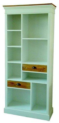 647: serie p - Regal mit 2 Schubladen - Küche oder Büro - 205-90-35cm - Echtholz weiss