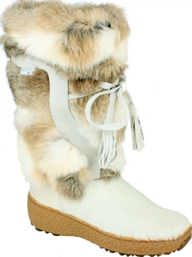 Original OSCAR Sport After Ski Fellstiefel Winterstiefel Winterboot mit ECHTFELL Hase Hand Made in ITALY weiss Groesse-37
