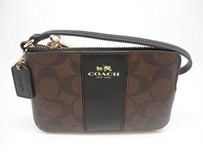 Coach-Signature-PVC-Leather-Corner-Zip-Wristlet-64233