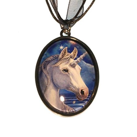 Sacred One White Unicorn Picture Cabochon Pendant Necklace