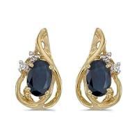 Amazon.com: 14k Yellow Gold Oval Sapphire And Diamond ...