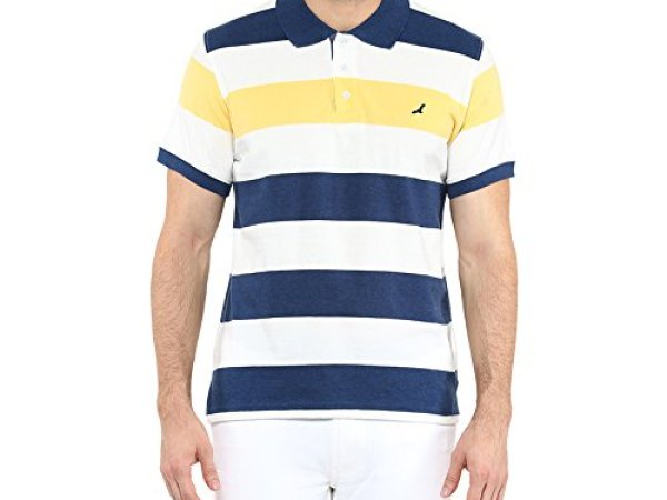 American Crew Men's Polo Stripes T-Shirt (White, Navy Melange & Yellow)