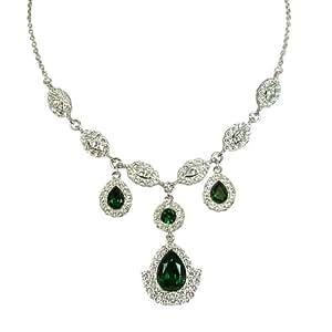 Cristalina Rhodium Plated Emerald Green Swarovski Crystal