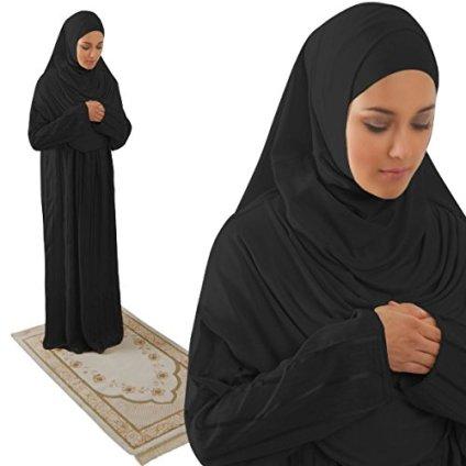 Amade Muslim Women's One-piece Prayer Dress Abaya Set for Hajj Umrah