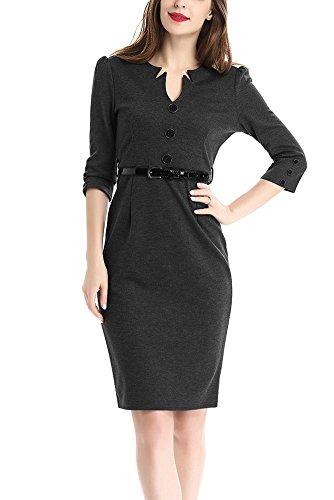 2016 Herbst Neuestes Einfarbiges V Ausschnitt Kleid mit 3/4-Arm Große Größen Knielanges Bleistiftkleid mit Gürtel