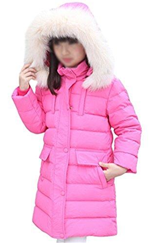 Tailloday Kinder Mädchen Daunenjacke Steppmantel Kleinkind Trenchcoat Outerwear mit Winterjacke lang mit Kaputze Daunenmantel