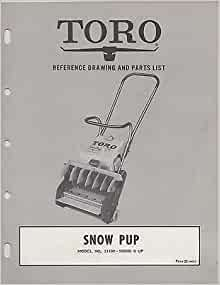 1964 TORO SNOW PUP SNOW BLOWER PARTS LIST MANUAL
