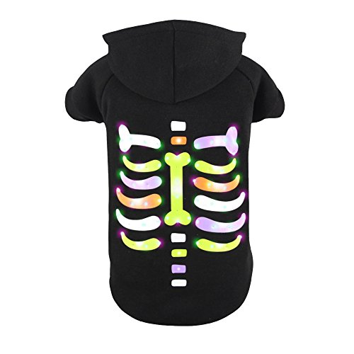 Royal Wise Pet Dog LED Light up Colorful Bones Hoodie Sweater Coat T Shirt Clothes (L)