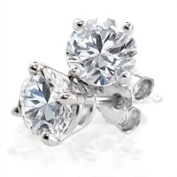 Amazon.com: 1.5 Carat Round Diamond Stud Earrings in 14K ...